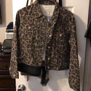 Hayden leopard denim jacket